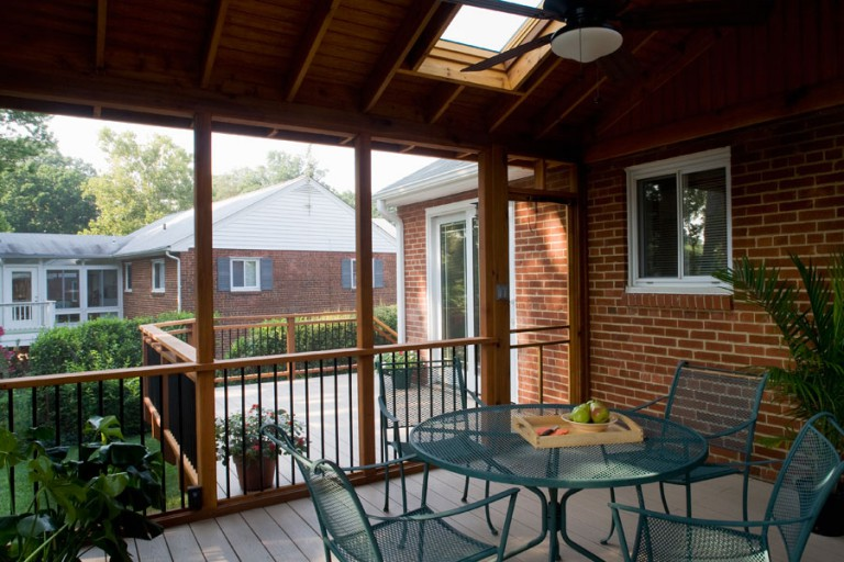 SKYLIGHT KEEPS PORCH BRIGHT.