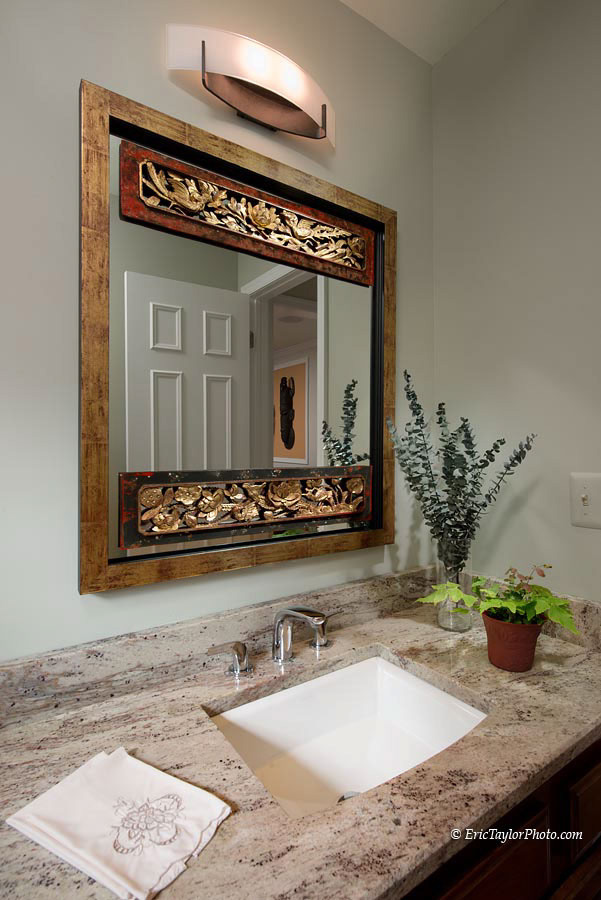 VIEW OF POWDER ROOM VANITY & CUSTOM MIRROR